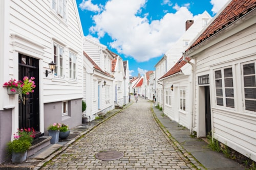 Traditional wooden houses in Gamle Stavanger. Gamle Stavanger is a historic area of the city of Stavanger in Rogaland, Norway