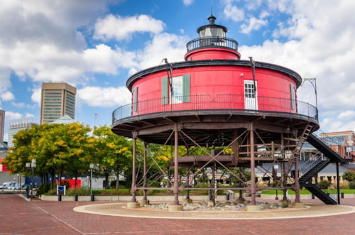 Seven Foot Knoll Lighthouse in Baltimore Waterfront