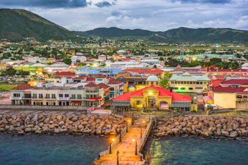 Basseterre, St. Kitts and Nevis town skyline at the port