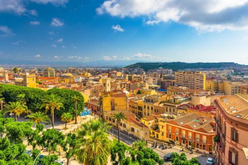 Cagliari, Sardinia, Italy old town cityscape.
