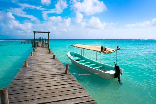 Caribbean beach pier in Costa Maya of Mayan Mexico