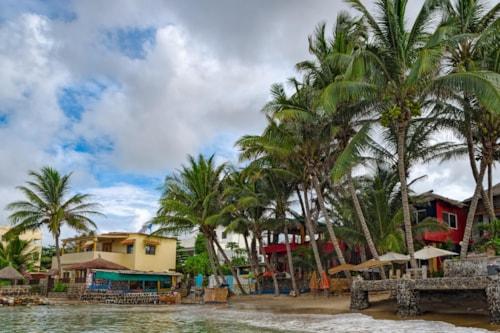 Shore of tiny island of NGor in Atlantic ocean. Dakar, Senegal