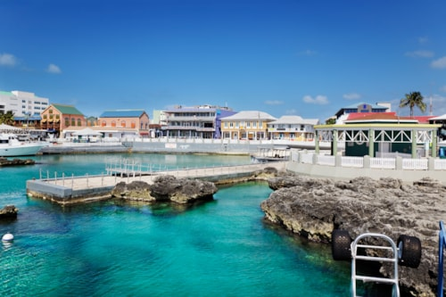 Waterfront shopping area in George Town, Grand Cayman