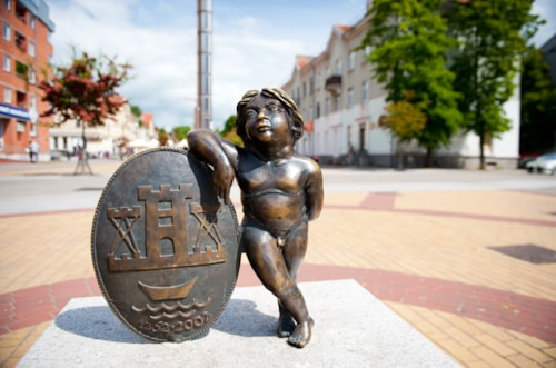 Sculpture 'Coat of arms of Klaipeda' in Klaipeda, Lithuania.