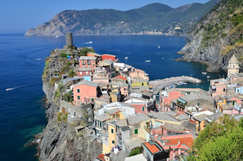Vernazza from Cinque Terre is a small town in comune La Spezia, Italy.
