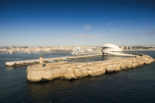 Cruise Terminal of Port of Leixoes in Matosinhos city. View from cruise ship. Porto, Portugal
