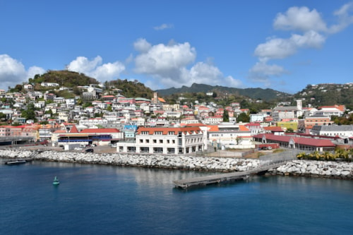 St George's cruise port, capital of Grenada, the Caribbean. Popular tourist destination with beautiful town.