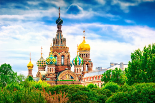 Famous church of the Savior on Spilled Blood in Saint Petersburg, Russia