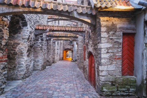 View of St. Catherine's Passage, Old Town of Tallinn, Estonia
