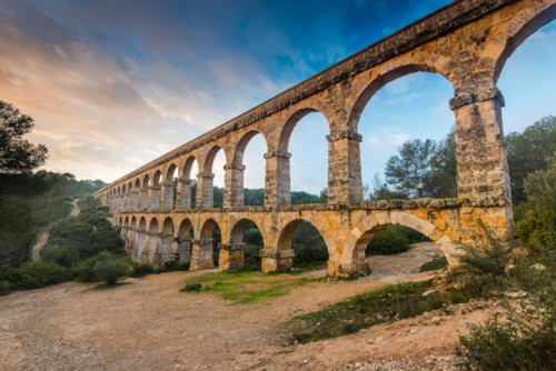 Roman Ponte del Diable in tarragona,Spain at sunset