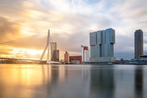 Landausfluege in Rotterdam: Fluss mit Erasmusbrücke und Terminal