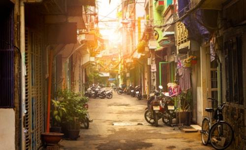 Kleine Straße von Ho Chi Minh Stadt, Vietnam