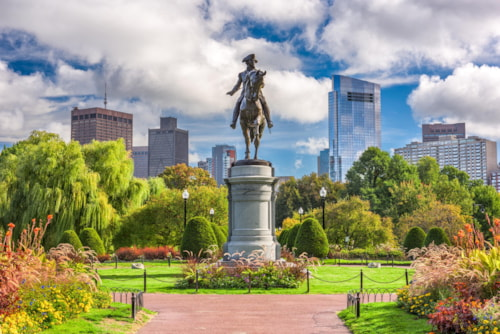 George Washington Monument at Public Garden in Boston, Massachusetts.