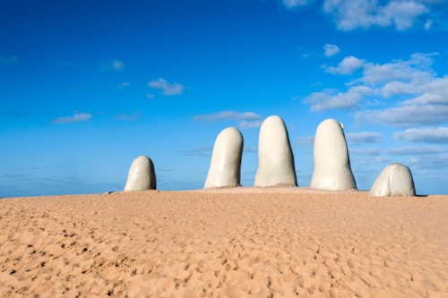 Hand Sculpture, the symbol of Punta del Este, Uruguay